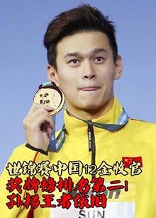 国际泳联世锦赛中国12金收官 奖牌榜排第二 孙杨王者依旧