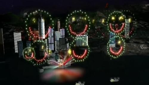 香港维多利亚焰火表演 160个笑脸齐绽放