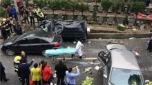 浙江萧山:公墓内奔驰车失控冲撞 致4死5伤