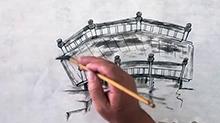 5068网国画课程第37期:船桥的画法